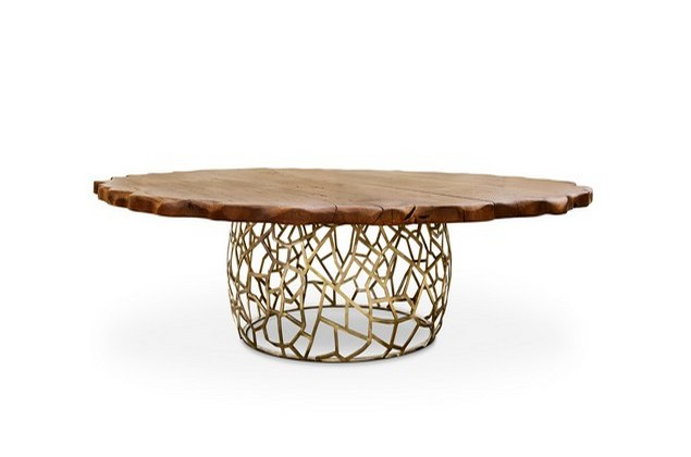 table design Magnificent Table Design That Will Delight You apis large round geometric wood brass dining table 11