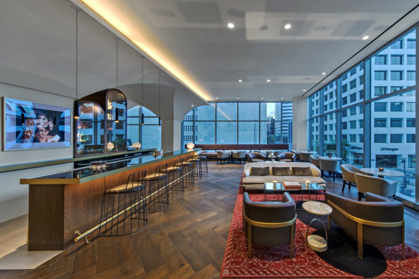 Bardot lounge bar seating stools at Hotel Alessandra Houston international design awards 2018 International design awards 2018 - Hotel Alessandra by Rottet Studio International design awards 2018 Hotel Alessandra by Rottet Studio 3
