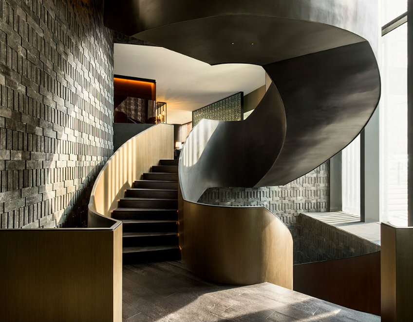The Middle House stairs by Piero Lissoni new piero lissoni hotel New Piero Lissoni hotel design- the much anticipated The Middle House The Middle House hotel luxury bathroom